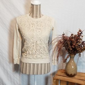 J. Crew Off white Lacy Front Long Sleeve T-Shirt